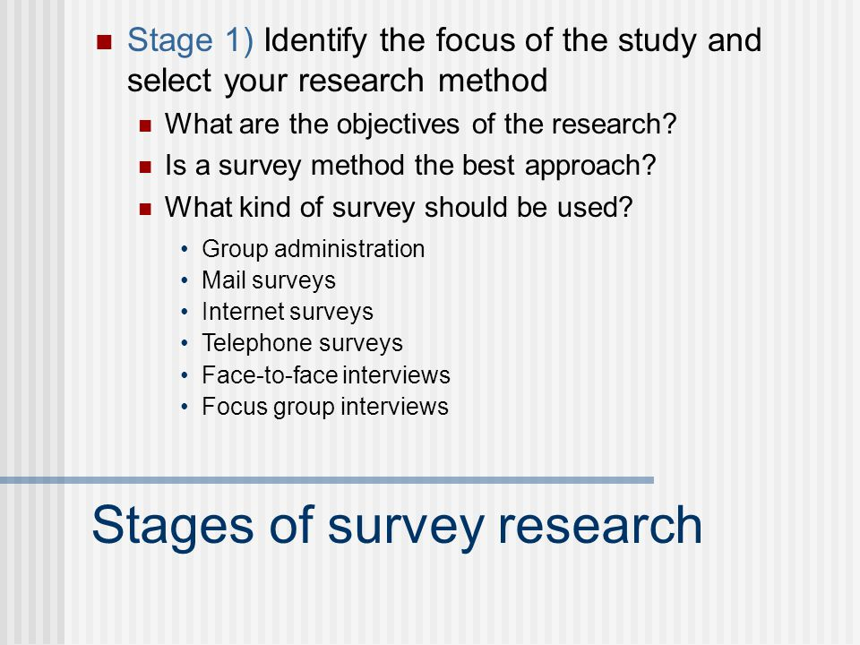 Stages of a research study