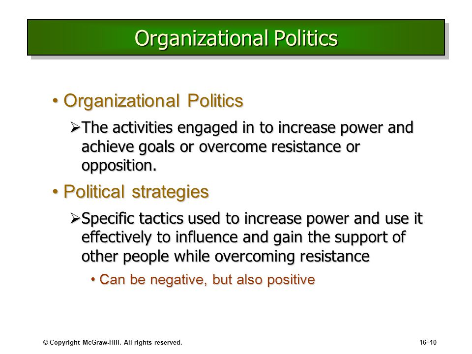 organizational power and politics essays Ase: organizational power and politics jose gonzalez, a hispanic man, was highly sought after receiving his phd in accounting today, he is a tenured professor.