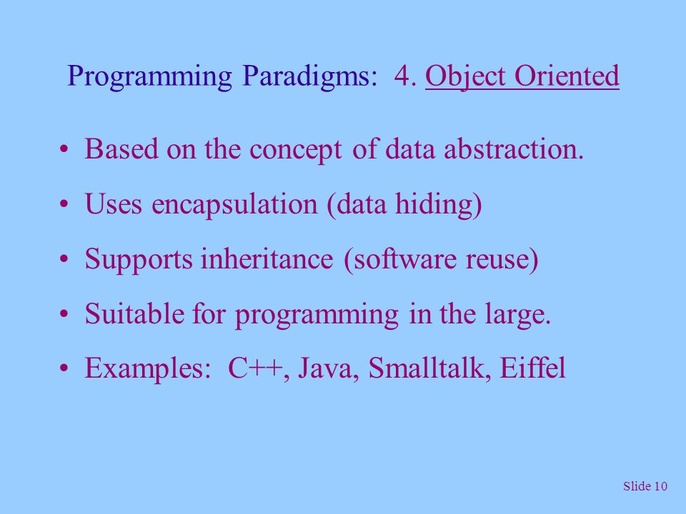 Programming Paradigms: 4. Object Oriented