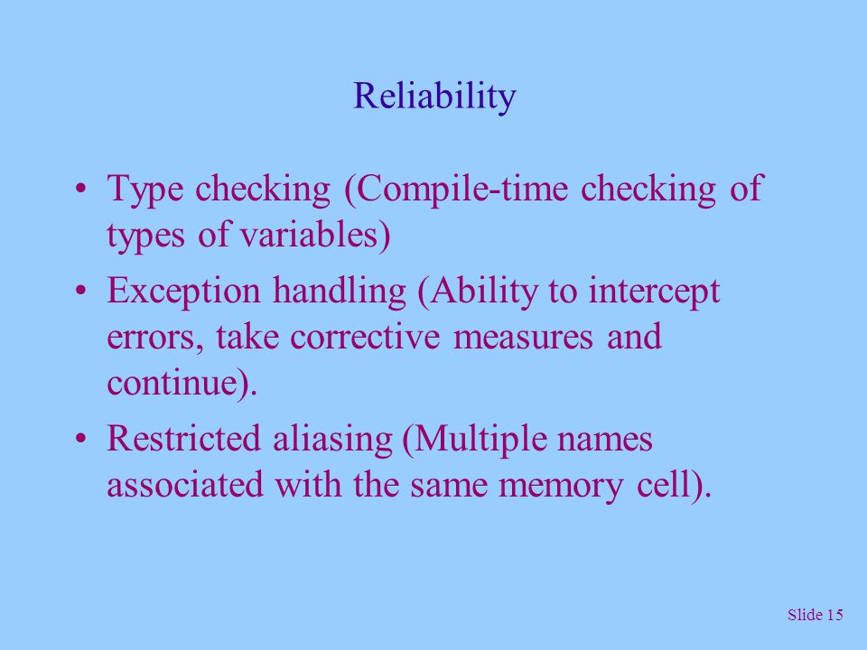 Reliability Type checking (Compile-time checking of types of variables)