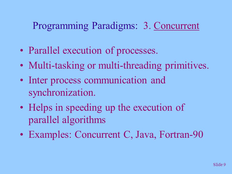 Programming Paradigms: 3. Concurrent