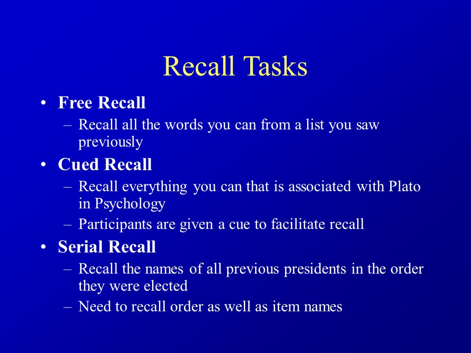 memory recall for word lists Can subjects avoid creating false memories as outlined in roediger and  mcdermott's (1995) false  study and recall tests with the same word lists  presented.
