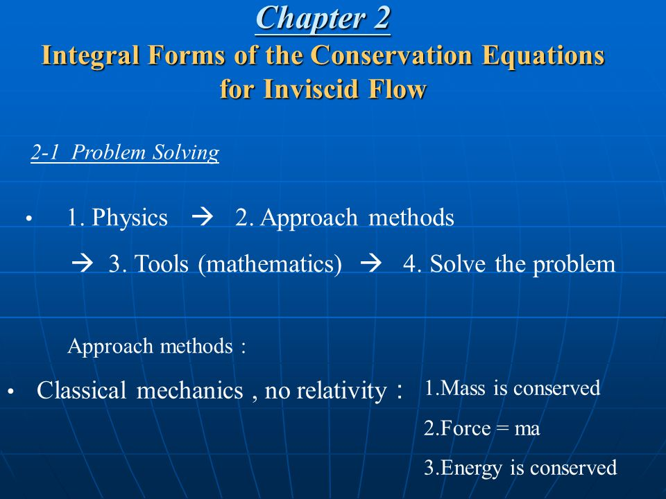 Chapter 2 Integral Forms of the Conservation Equations for Inviscid Flow