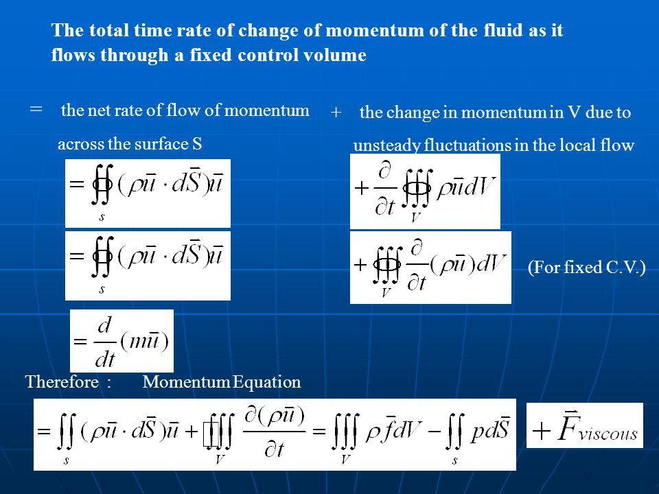 = the net rate of flow of momentum