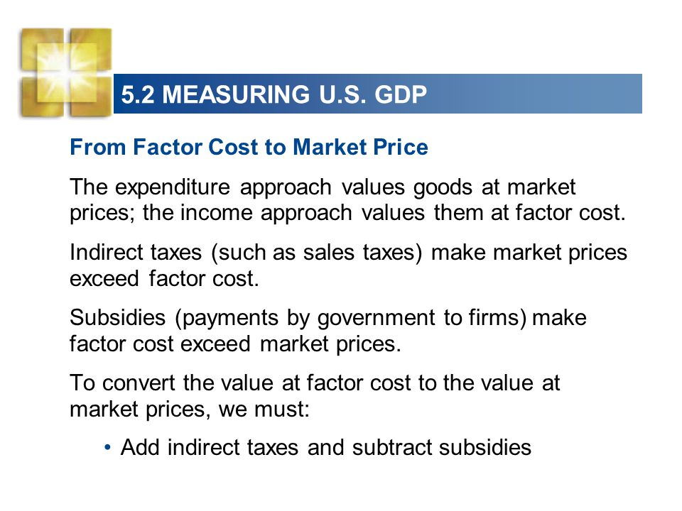 5.2 MEASURING U.S. GDP From Factor Cost to Market Price