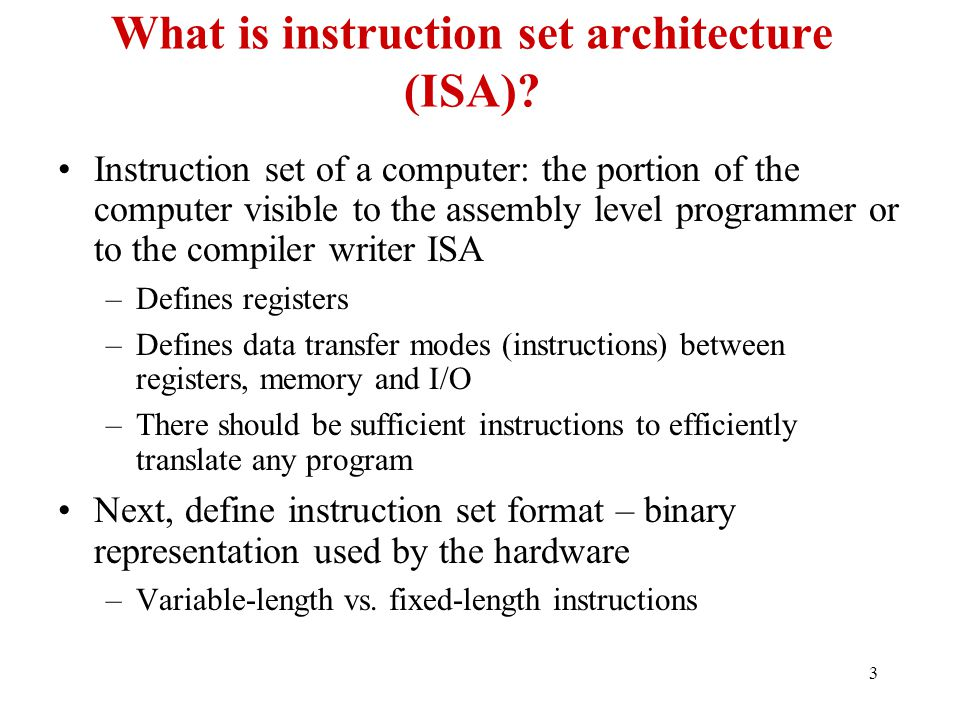 What is instruction set architecture (ISA)