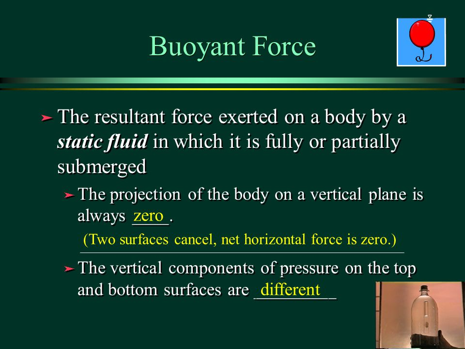 Buoyant Force The resultant force exerted on a body by a static fluid in which it is fully or partially submerged.
