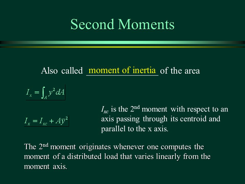 Second Moments Also called _______________ of the area