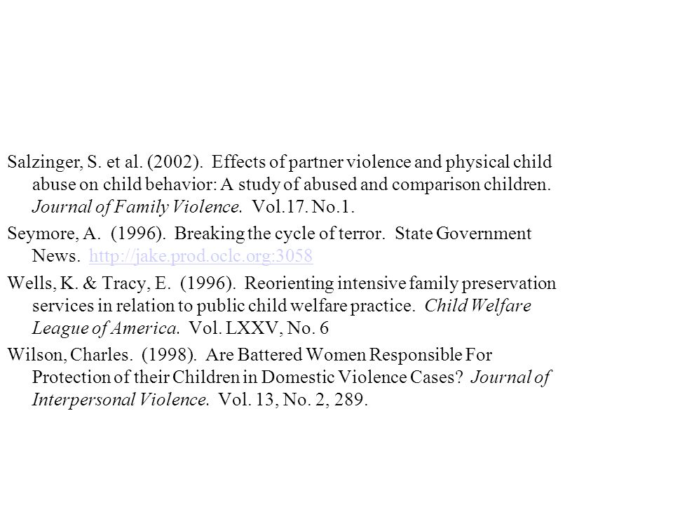 the negative effects of child abuse and domestic violence on children in america Almost 1 in 10 american children saw one family member assault another family   to multiple kinds of violence predicts negative outcomes beyond the effects of   the effects of child abuse and exposure to domestic violence on adolescent.