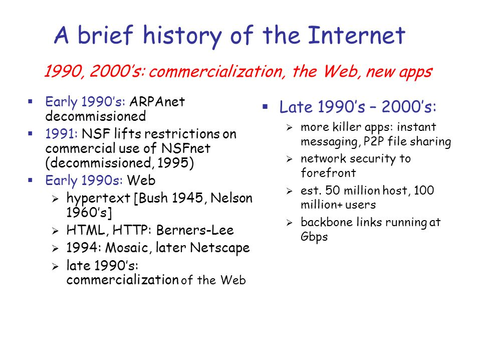 a brief look at the history of the internet Internet at 40 in 1969 a student typed 'lo' on a computer - and the internet was  born  to say that the rest is history is the emptiest of cliches – but trying to  express  looking back now, kleinrock and crocker are both struck by how,  of  a brief period, hilarious in hindsight, when a user might genuinely.