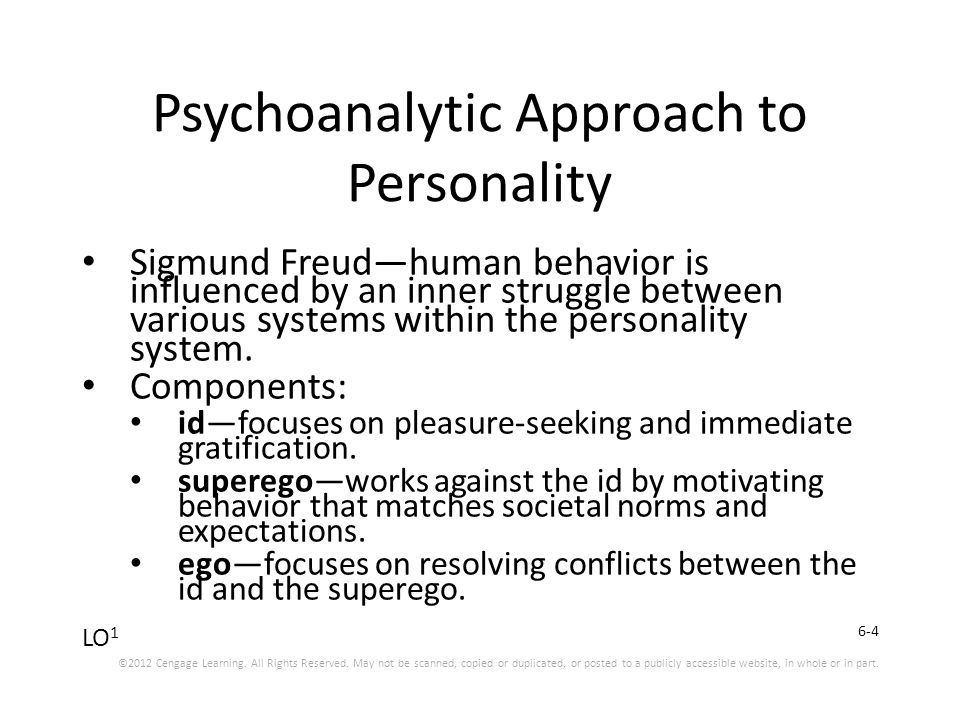 the psychoanalytic approach to personality Sigmund freud is said to be the founder of psychoanalytic theory psychoanalytic theory is a method of investigating and treating personality disorders and is used in psychotherapy included in this theory is the idea that things that happen to people during childhood can contribute to the way they .
