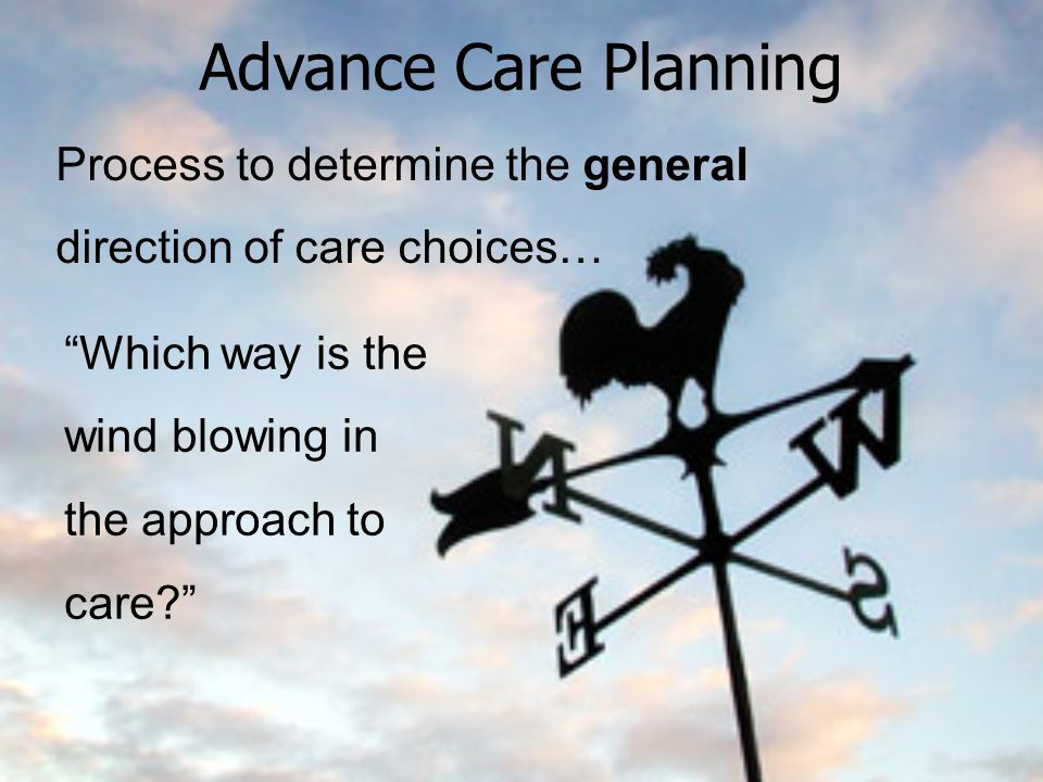 Advance Care Planning Process to determine the general direction of care choices… Which way is the wind blowing in the approach to care