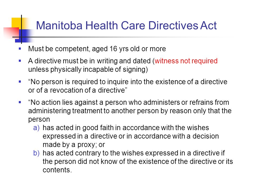 Manitoba Health Care Directives Act