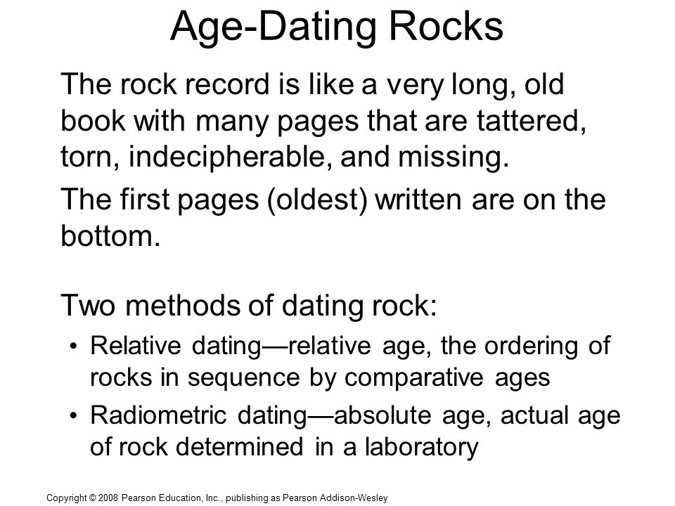 method of dating rocks Radiometric dating (often called  the method compares the amount of a naturally occurring radioactive  it is the main way to learn the age of rocks and other .