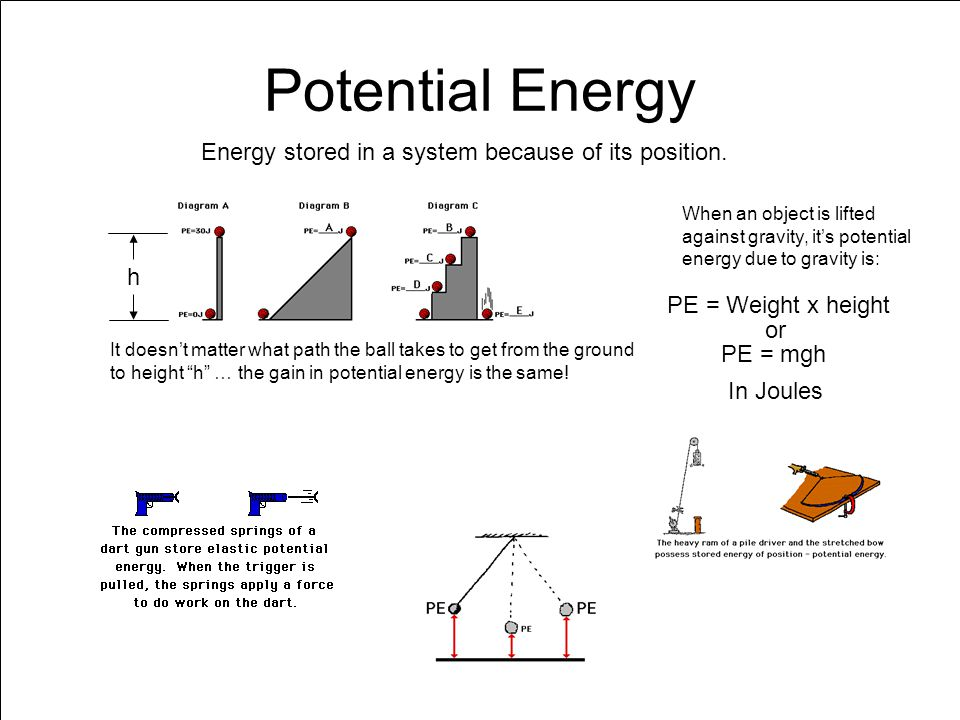 potential energy stored energy of position Potential energy is energy that is stored in a system there is the possibility, or potential, for it to be converted to kinetic energy elastic potential energy is stored in a spring that has been stretched or compressed by a distance x away from its equilibrium position position x = 0 must always.
