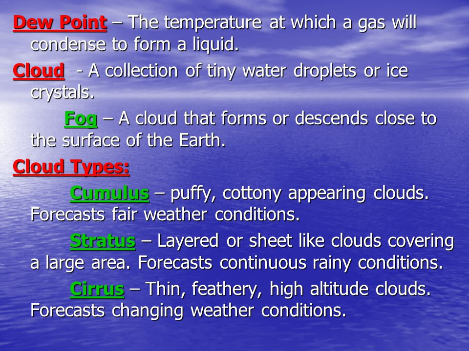 Dew Point – The temperature at which a gas will condense to form a liquid.