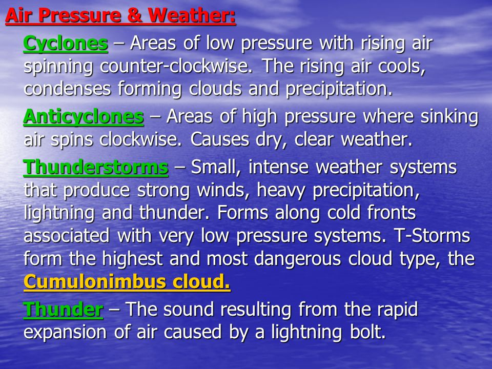 Air Pressure & Weather: