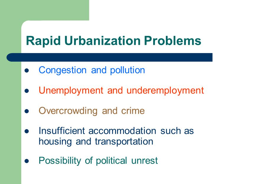 """urbanization problems """"one of china's greatest successes in its rapid urbanization has been that it has managed to contain """"urban air and water pollution is a serious problem."""