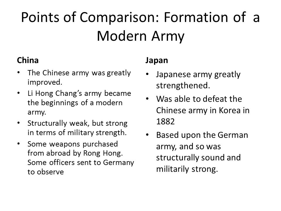 compare and contrast china and japans How did rising nationalism in china and japan compare in the important  china's nationalism, in contrast, was reactive and disorganized,.