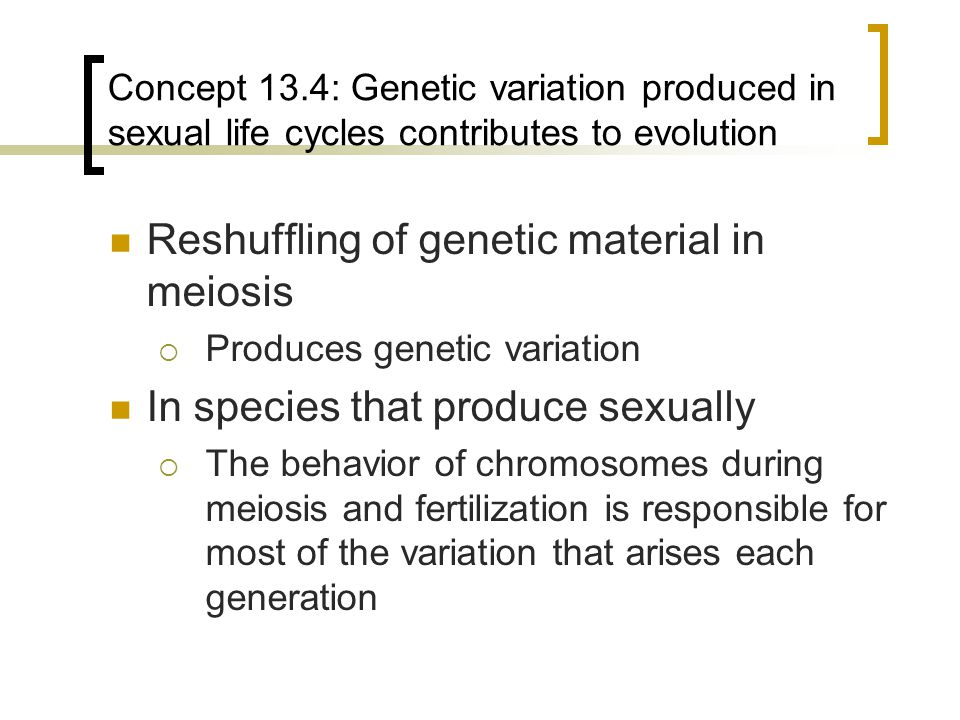 Reshuffling of genetic material in meiosis