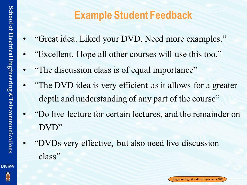 Example Student Feedback