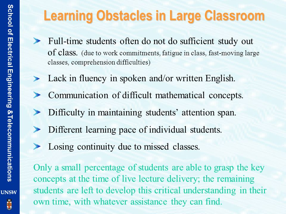 Learning Obstacles in Large Classroom