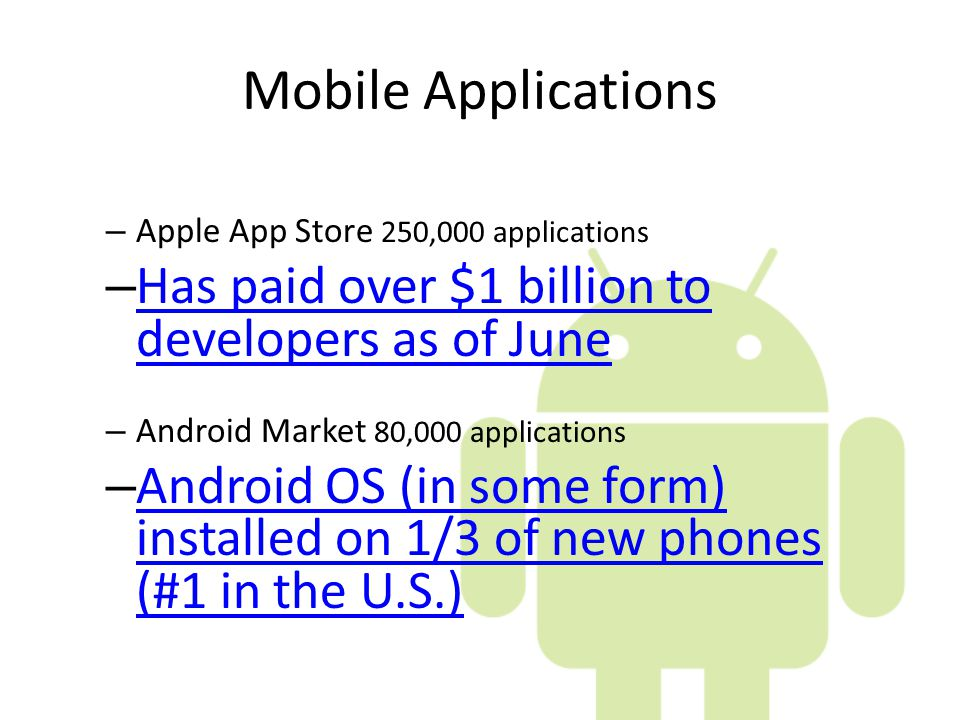 Mobile Applications Has paid over $1 billion to developers as of June