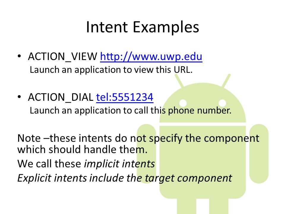 Intent Examples ACTION_VIEW   ACTION_DIAL tel: