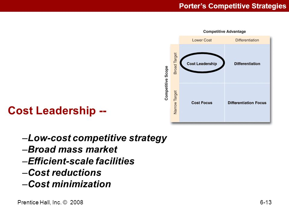 """foundation broad cost leader Focused cost leadership [2] is the first of two focus strategies a focused cost leadership strategy requires competing based on price to target a narrow market ( figure 512 """"focused cost leadership"""" ."""