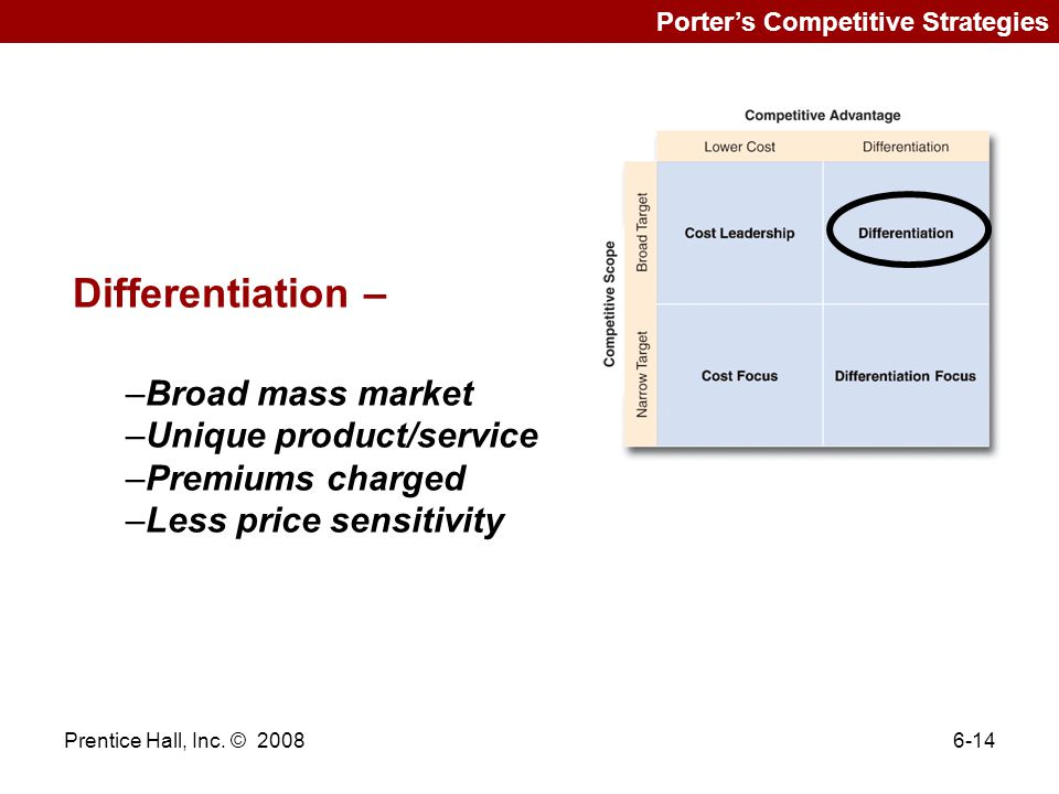 Differentiation – Broad mass market Unique product/service