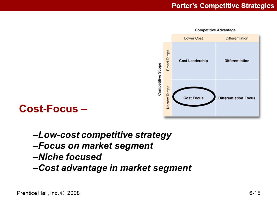 Cost-Focus – Low-cost competitive strategy Focus on market segment