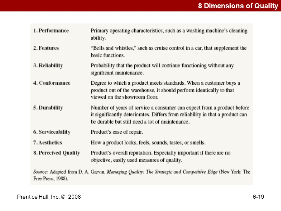 8 Dimensions of Quality Prentice Hall, Inc. © 2008 Prentice Hall 2006