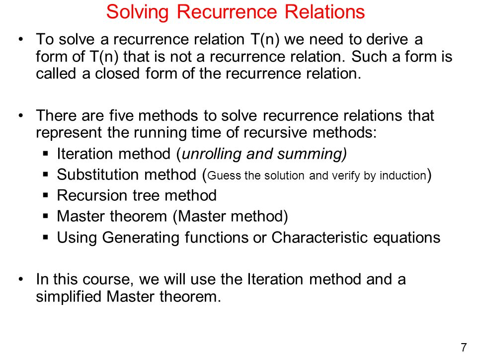 recursion and recurrence relationship