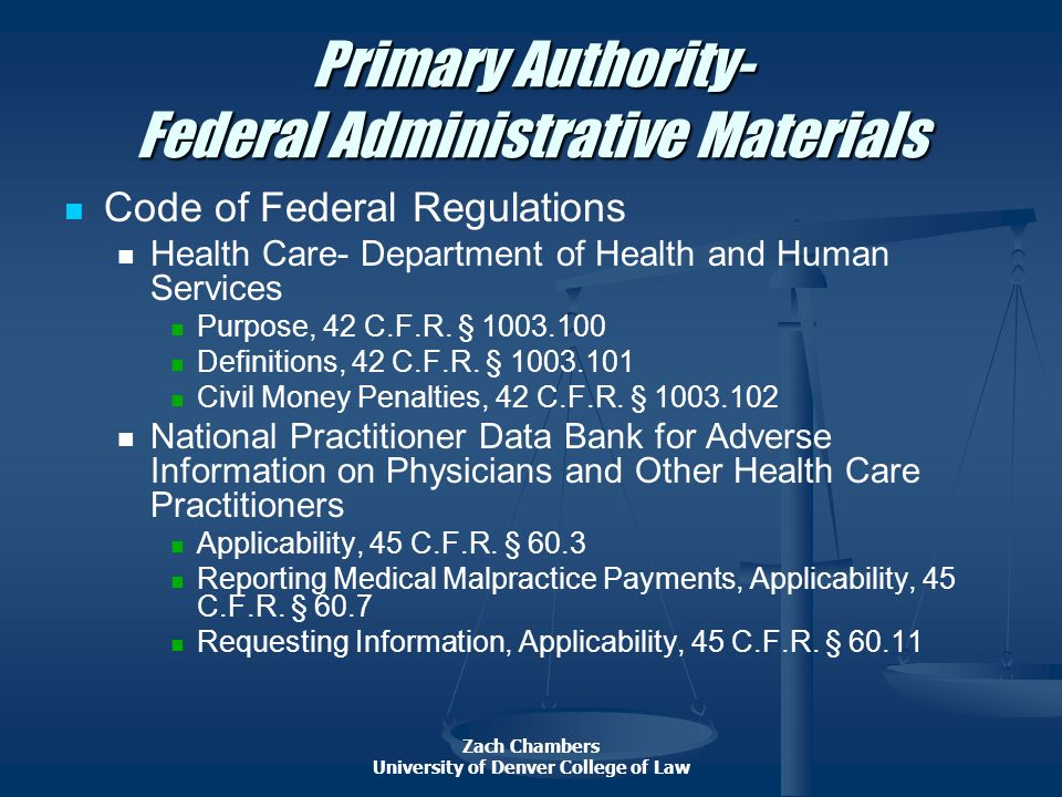 Primary Authority- Federal Administrative Materials