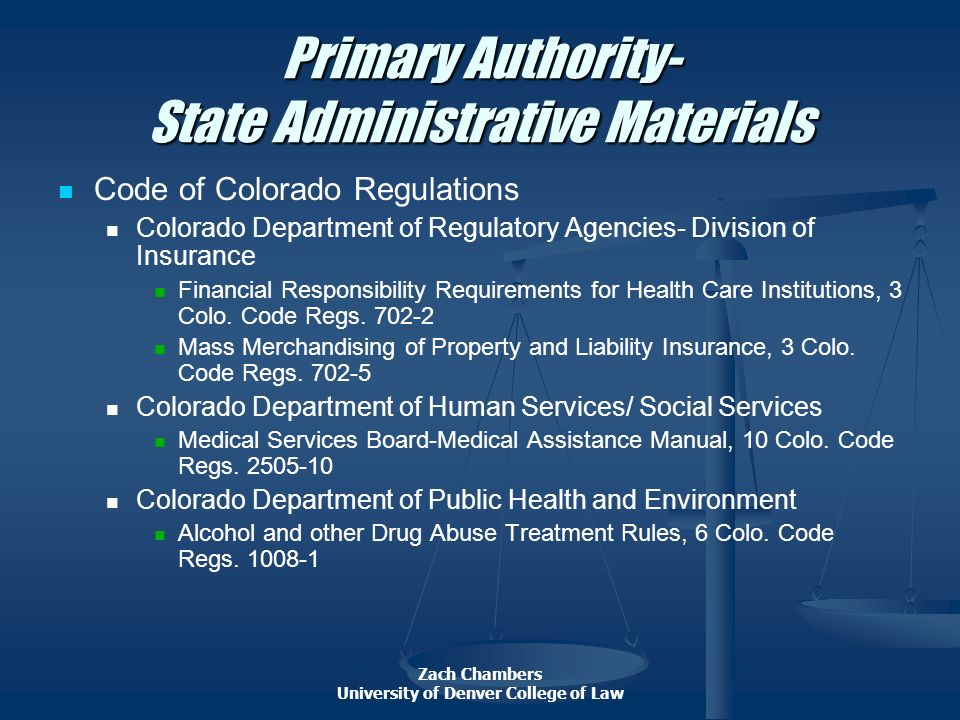 Primary Authority- State Administrative Materials