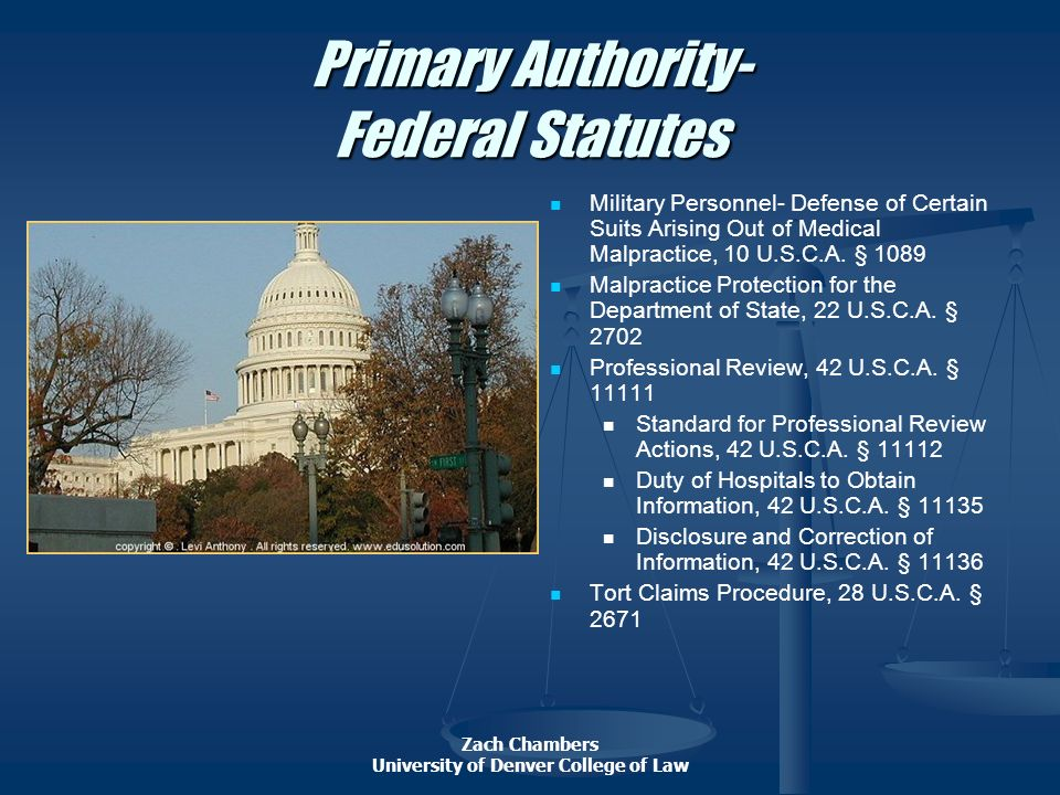 Primary Authority- Federal Statutes