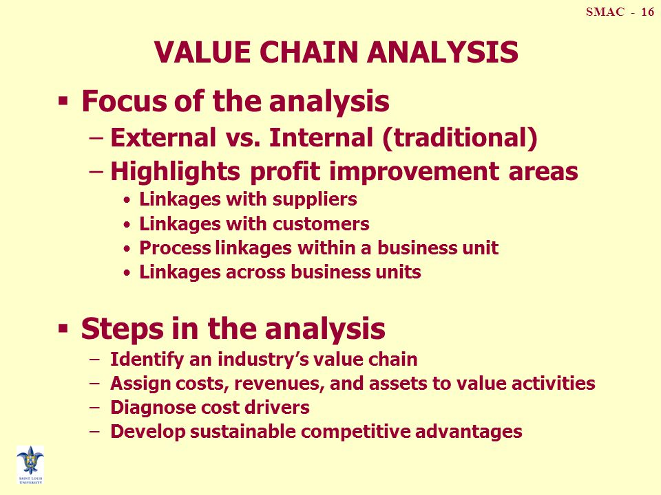 Value chain analysis and traditional management accounting