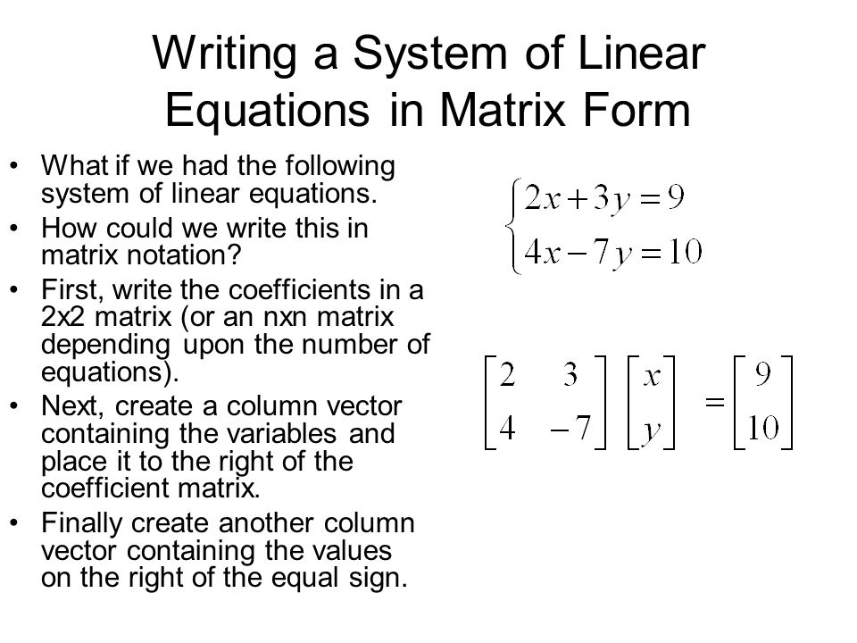 Systems of Equations and Augmented Matrices