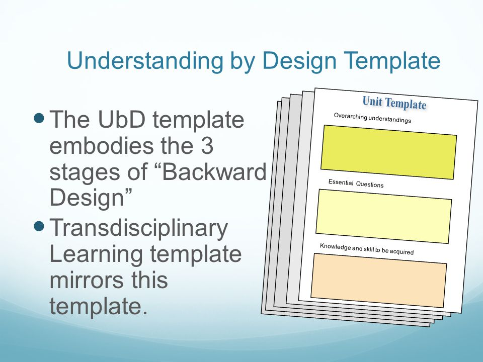 Transdisciplinary learning from concept to improved - Understanding by design unit plan template ...