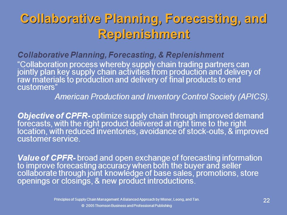 Collaborative Planning, Forecasting, and Replenishment