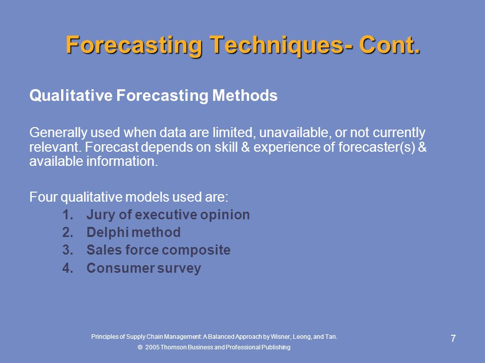 Forecasting Techniques- Cont.