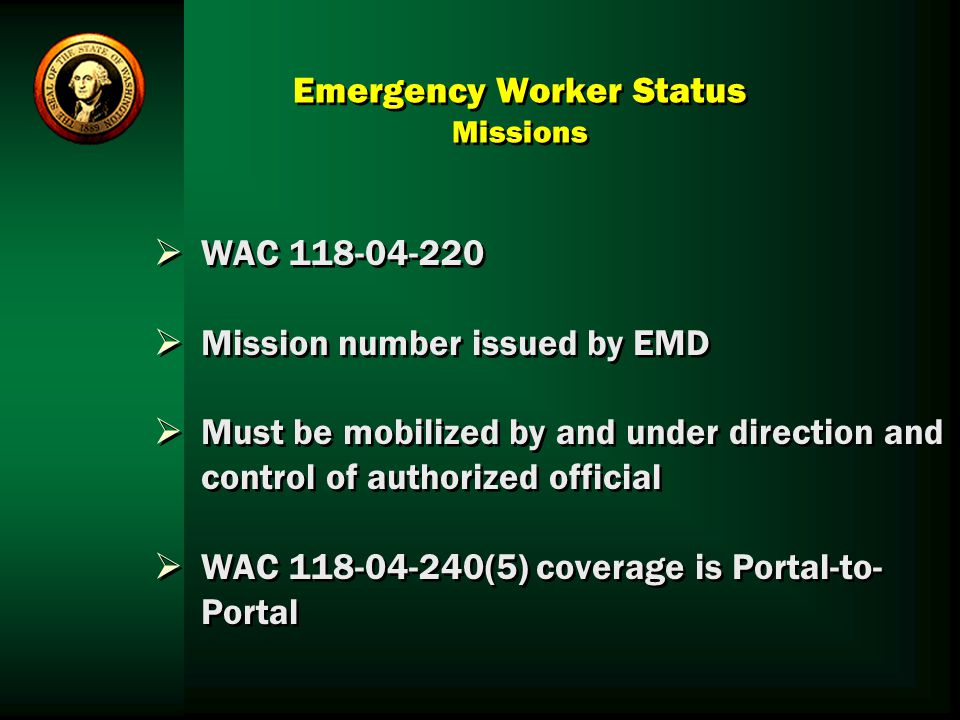 Emergency Worker Status Missions