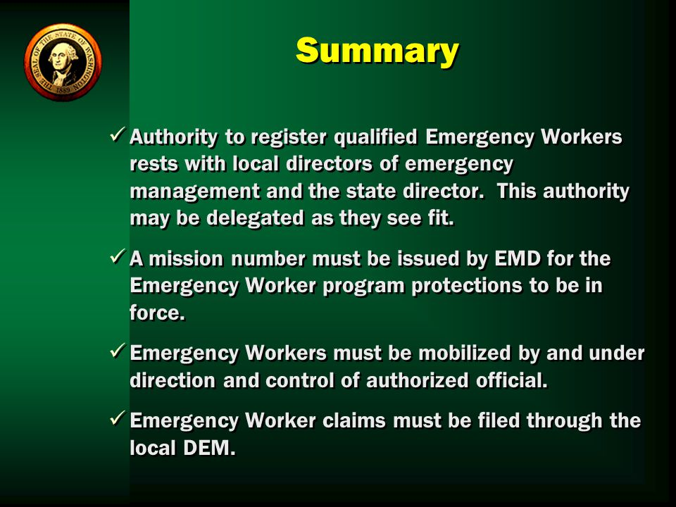 an overview of the emergency service workers esws Emergency service workers (esws) are notified by public health in the event that  s/he may  review information on any reported incidents provided by a do.