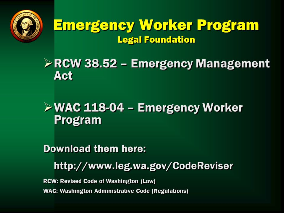 Emergency Worker Program Legal Foundation