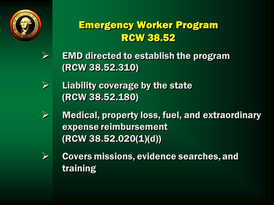 Emergency Worker Program RCW 38.52