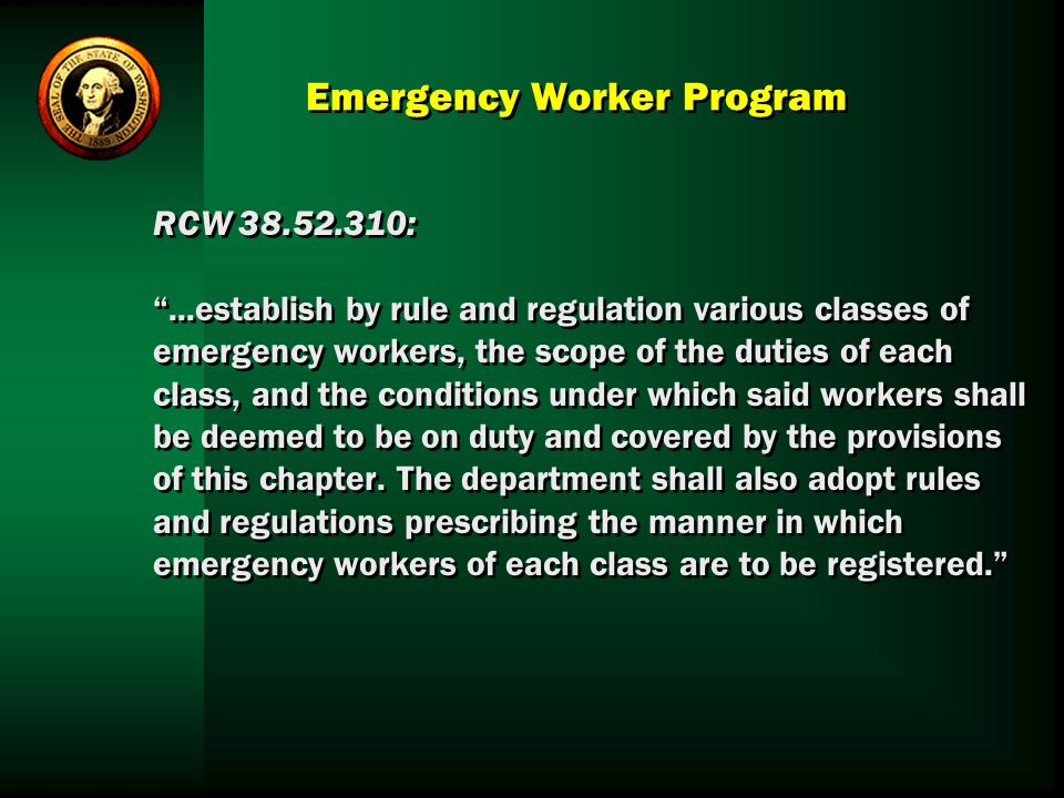 Emergency Worker Program