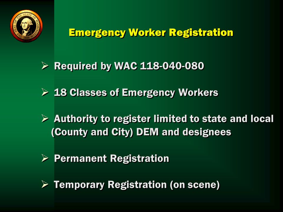 Emergency Worker Registration