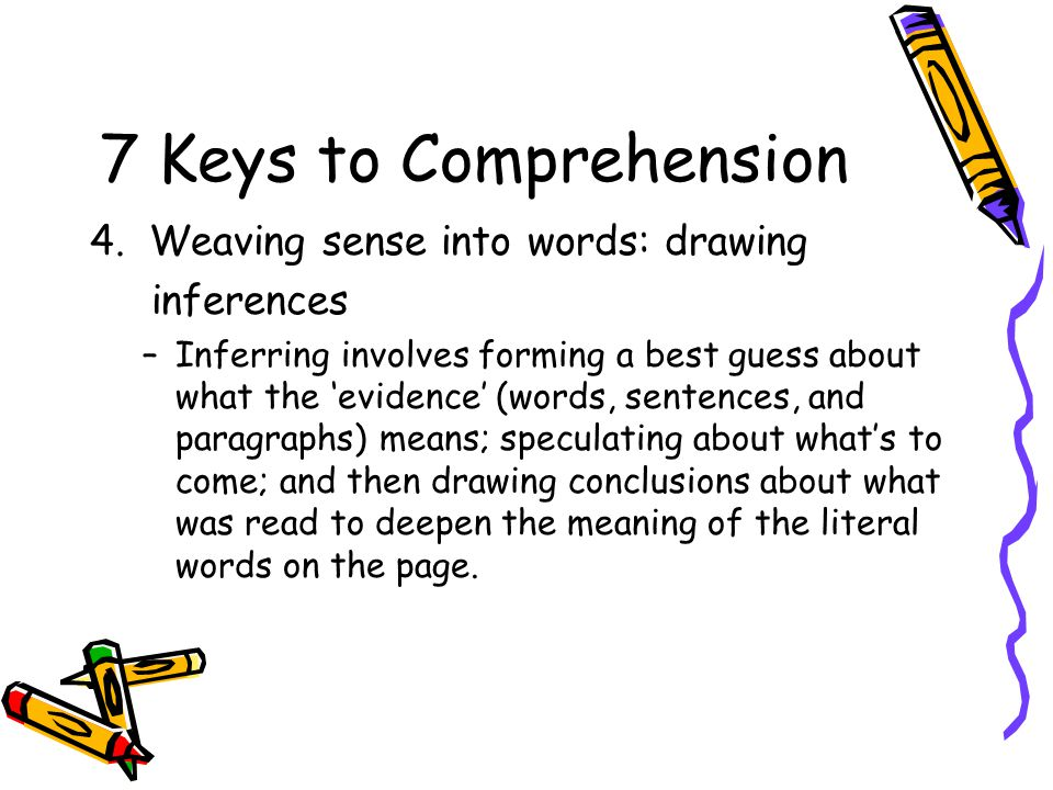 7 Keys to Comprehension 4. Weaving sense into words: drawing