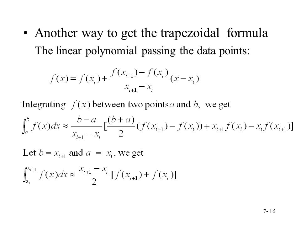 Another way to get the trapezoidal formula
