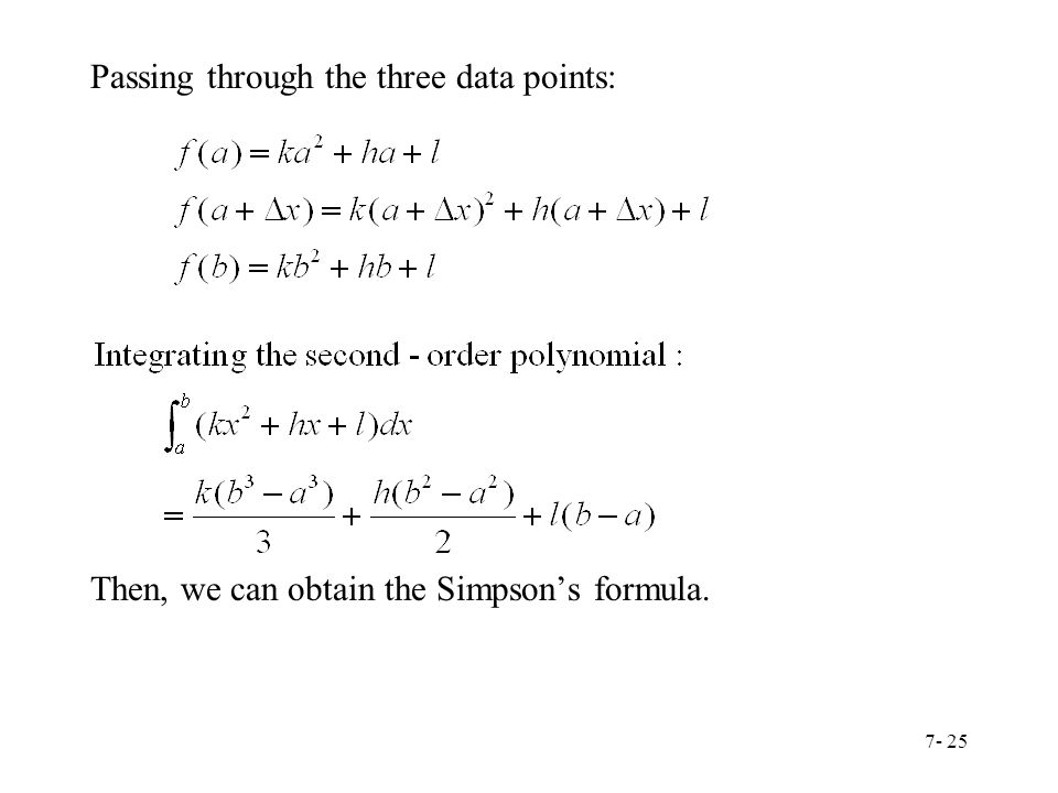 Passing through the three data points: